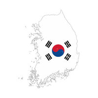 South Korea country silhouette with flag on background, isolated on white