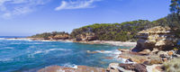 Rocky coastal cove in south coast NSW Australia panorama