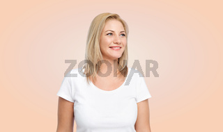 happy woman in white t-shirt