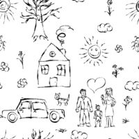 Cute black child's hand drawn objects like family, flowers, house, grass, tree, sun and cat, seamless pattern