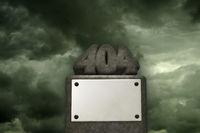 die zahl 404 aus stein auf sockel - 3d illustration