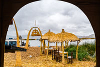 View of Floating Island of Uros in Titicaca Lake in Puno Peru
