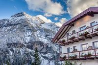 Historic hotel in valle Aurina in winter