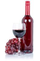 Wein Weinflasche Weinglas Flasche rot Glas Rotwein Weintrauben Alkohol Getränk freigestellt Freisteller