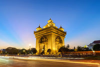 Vientiane Laos, sunset city skyline at Patuxai (Patuxay)