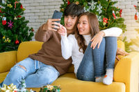 Couple selfie christmas celebration holiday