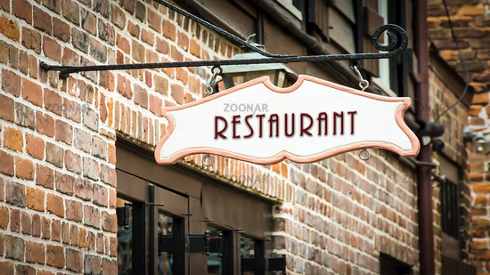 Street Sign to Restaurant