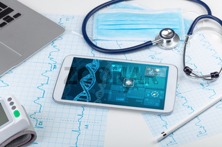 Biotechnology concept with medical technology devices