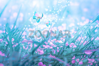 Beautiful micro Veronica persica wildflowers, butterfly in the dreamy meadow. Delicate pink and blue colors pastel toned. Shallow depth macro background. Nature floral springtime