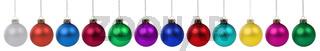 Weihnachten Weihnachtskugeln Banner Farben Kugeln Dekoration in einer Reihe Freisteller