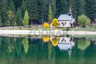 Small chapel at Braies Lake