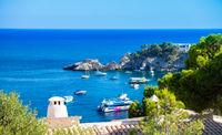 Beautiful view of Cala Fornells, seaside Majorca Spain