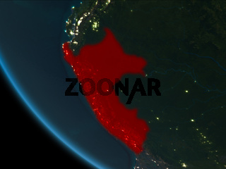 Peru at night from orbit