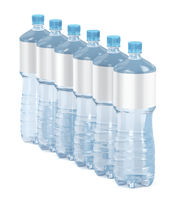 Six water bottles with blank labels