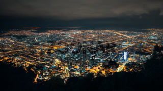 Skyline of Bogota from Monserrate at night