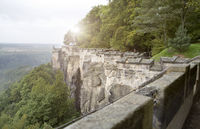 wall of old fortress fortification Koenigstein in Saxon Switzerland