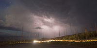 Over Tower Creek Thunderstorm Lightning Strikes Yellowstone National Park