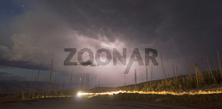 Over Tower Creek Thunderstorm Lightning Strikes Yellowstone National Park