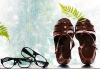 sandals on rainy background