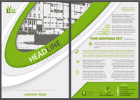 Flyer Template with Stripes and City Drawing