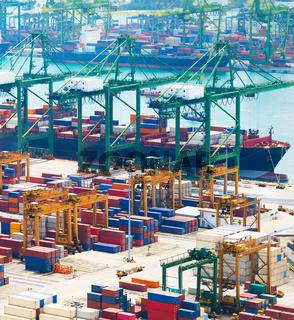 Cargo ship. Singapore industrial port