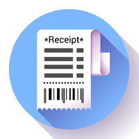 Paper receipt, bank document, payment and bill invoice icon, retail and sales concept, vector illustration.