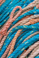 Colorful fishing ropes in a harbour