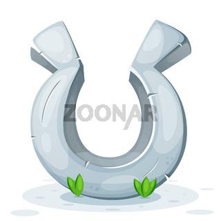 Horseshoe, stone, grass - old illustration.