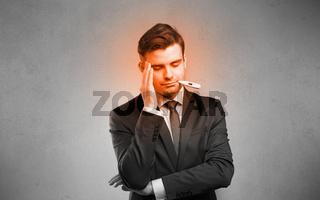 Sick businessman with burning red head concept
