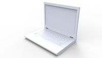 3d rendering of a laptop isolated in white background