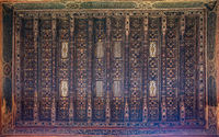 Wooden ceiling decorated with floral pattern decorations at ottoman historic Beit El Set Waseela building، Old Cairo, Egypt