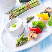 vegetable shashlik vegetarian with yogurt garlic sauce.