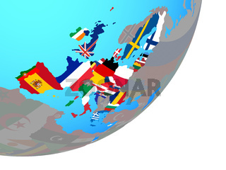 Map of European Union with flag on globe