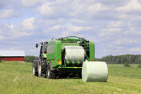 Baling Silage in Hay Field