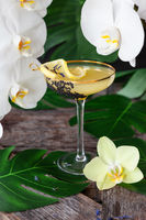 Exotischer Cocktail mit Orchideen