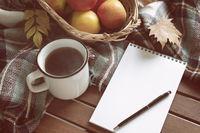 Cup of tea autumn concept