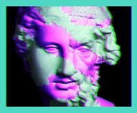 Modern conceptual art poster with ancient statue of bust of Homer. Collage of contemporary art.
