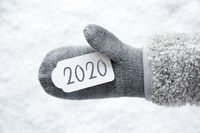 Wool Glove, Label, Snow, Text 2020, White Background