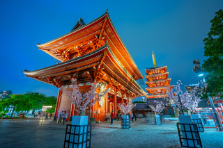 Senso-ji temple at night in Tokyo city, Japan
