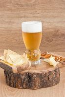 Glass light golden beer