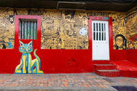 Bogota La Candelaria district colorful facade with murals paintings