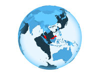 Malaysia on blue globe isolated