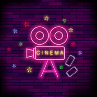 Cinema Light Neon Sign. Pink Signboard. Bright Street Banner.
