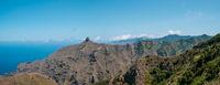 Mountain ridge  landscape panorama, blue sky and ocean view, Anaga Mountains, Tenerife