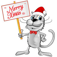 cat Santa Claus with merry christmas text. Isolated  illustration