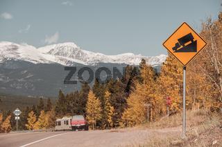 Steep grade truck road sign on highway
