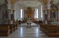 Altar in der Dreifaltigkeitskirche auf dem Dreifaltigkeitsber,  Schwäbische Alb