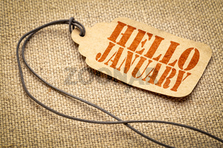 Hello January - text on a price tag