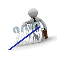 Small businessman with an upswing arrow