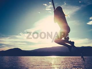 Idyllic Rope Swing Girl